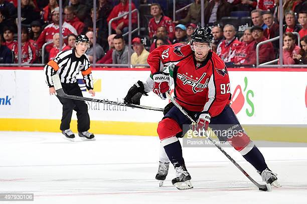 Evgeny Kuznetsov of the Washington Capitals controls the puck in the third period against the Dallas Stars during an NHL game at Verizon Center on...