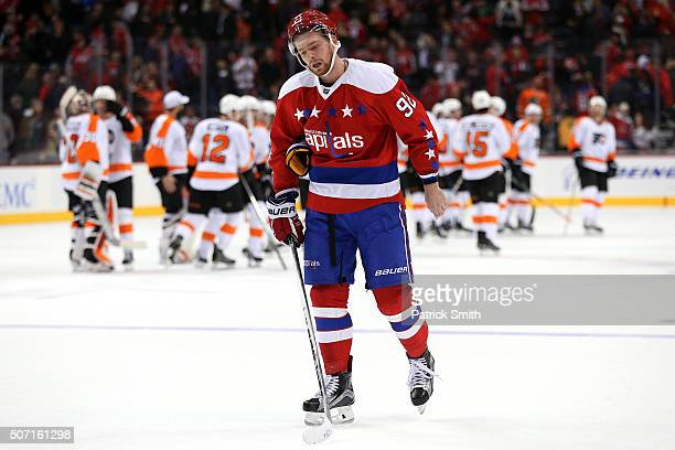 Evgeny Kuznetsov of the Washington Capitals reacts after losing to the Philadelphia Flyers in overtime at Verizon Center on January 27 2016 in...