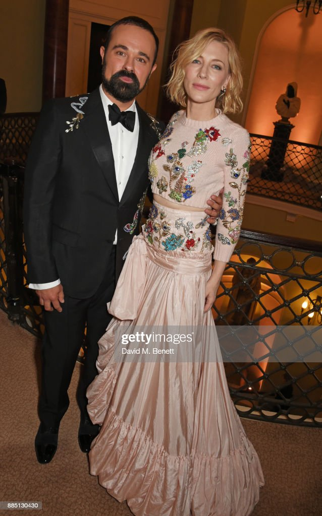 Evgeny Lebedev (L) and Cate Blanchett attend a drinks reception ahead of the London Evening Standard Theatre Awards 2017 at the Theatre Royal, Drury Lane, on December 3, 2017 in London, England.