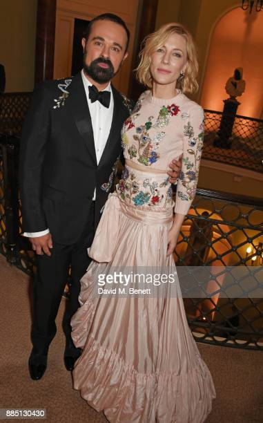 Evgeny Lebedev and Cate Blanchett attend a drinks reception ahead of the London Evening Standard Theatre Awards 2017 at the Theatre Royal Drury Lane...