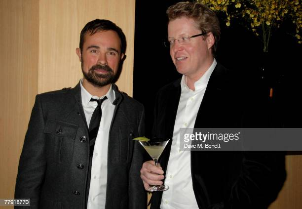 Evgeny Lebedev and Charles Spencer attend a private dinner hosted by Evgeny Lebedev to launch his new restaurant Sake No Hana at Sake No Hana on...