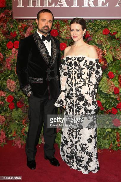 Evgeny Lebedev and Claire Foy arrive at The 64th Evening Standard Theatre Awards at the Theatre Royal Drury Lane on November 18 2018 in London England