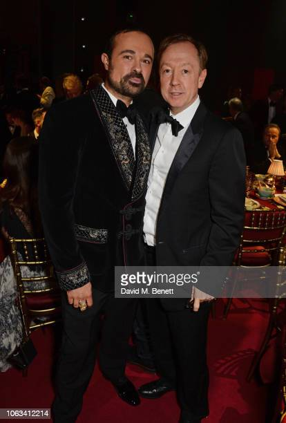 Evgeny Lebedev and Geordie Greig attend The 64th Evening Standard Theatre Awards at the Theatre Royal Drury Lane on November 18 2018 in London England