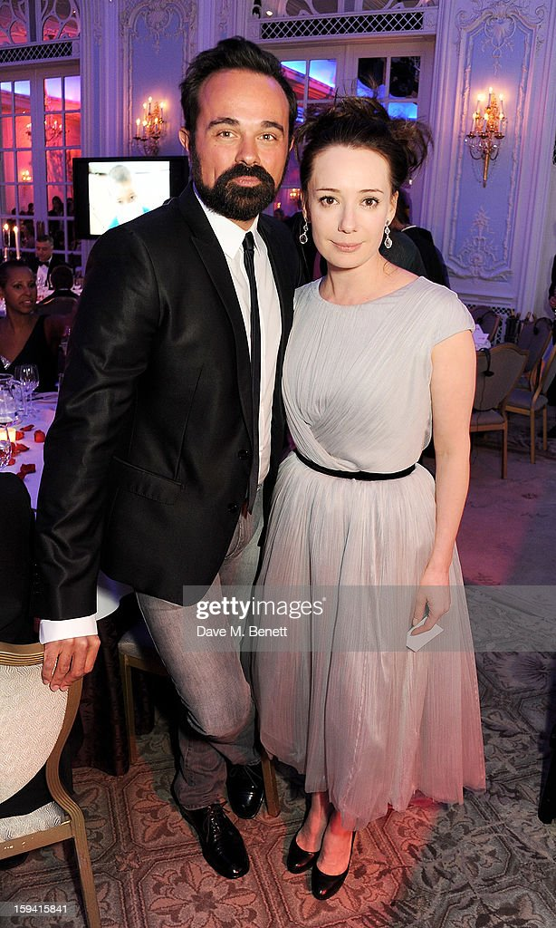 Evgeny Lebedev (L) and Gift of Life co-founder Chulpan Khamatova attend a gala evening celebrating Old Russian New Year's Eve in aid of the Gift Of Life Foundation at The Savoy Hotel on January 13, 2013 in London, England.