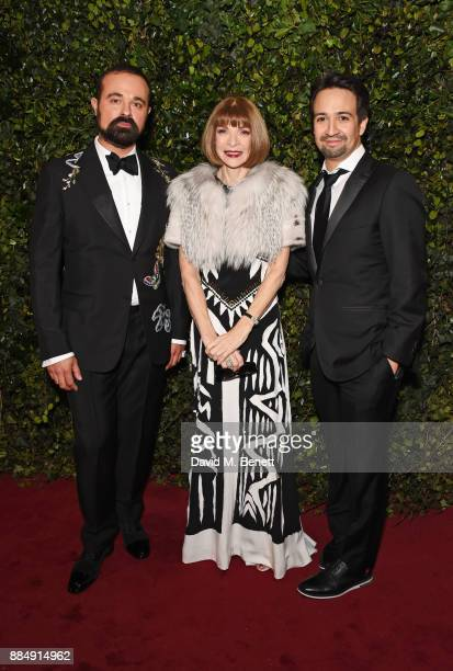 Evgeny Lebedev Anna Wintour and LinManuel Miranda attend the London Evening Standard Theatre Awards 2017 at the Theatre Royal Drury Lane on December...