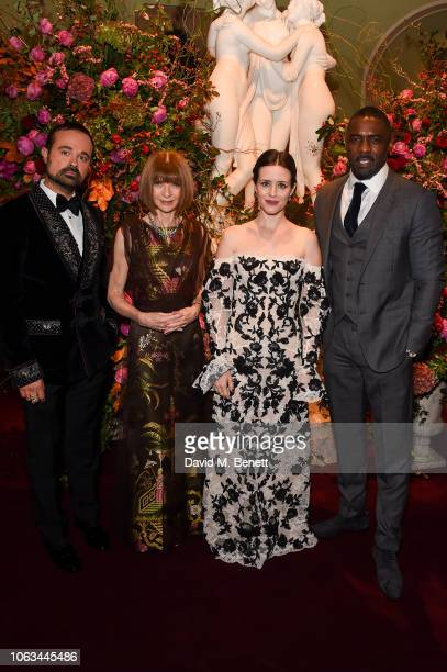 Evgeny Lebedev Anna Wintour Claire Foy and Idris Elba attend The 64th Evening Standard Theatre Awards at the Theatre Royal Drury Lane on November 18...
