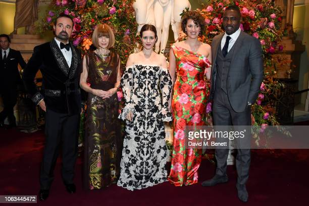 Evgeny Lebedev Anna Wintour Claire Foy Pheobe WallerBridge and Idris Elba attend The 64th Evening Standard Theatre Awards at the Theatre Royal Drury...