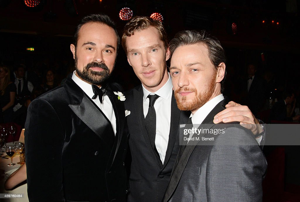 Evgeny Lebedev, Benedict Cumberbatch and James McAvoy attend an after party following the 60th London Evening Standard Theatre Awards at the London Palladium on November 30, 2014 in London, England.