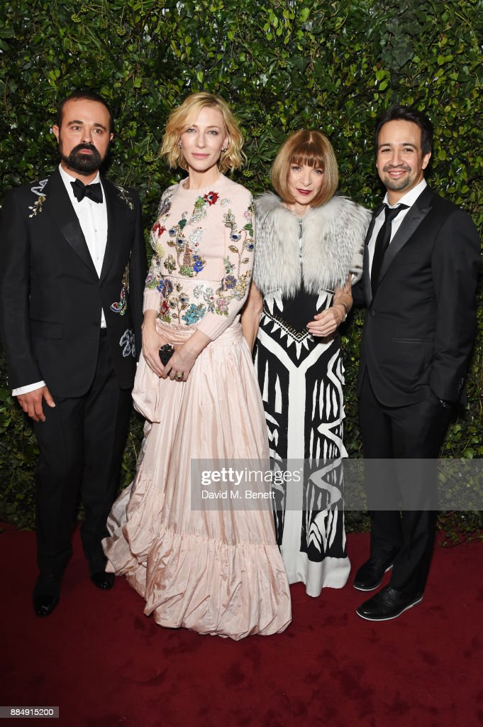 Evgeny Lebedev, Cate Blanchett, Anna Wintour and Lin-Manuel Miranda attend the London Evening Standard Theatre Awards 2017 at the Theatre Royal, Drury Lane, on December 3, 2017 in London, England.
