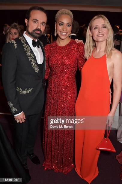 Evgeny Lebedev Cush Jumbo and AnneMarie Duff attend the 65th Evening Standard Theatre Awards in association with Michael Kors at the London Coliseum...