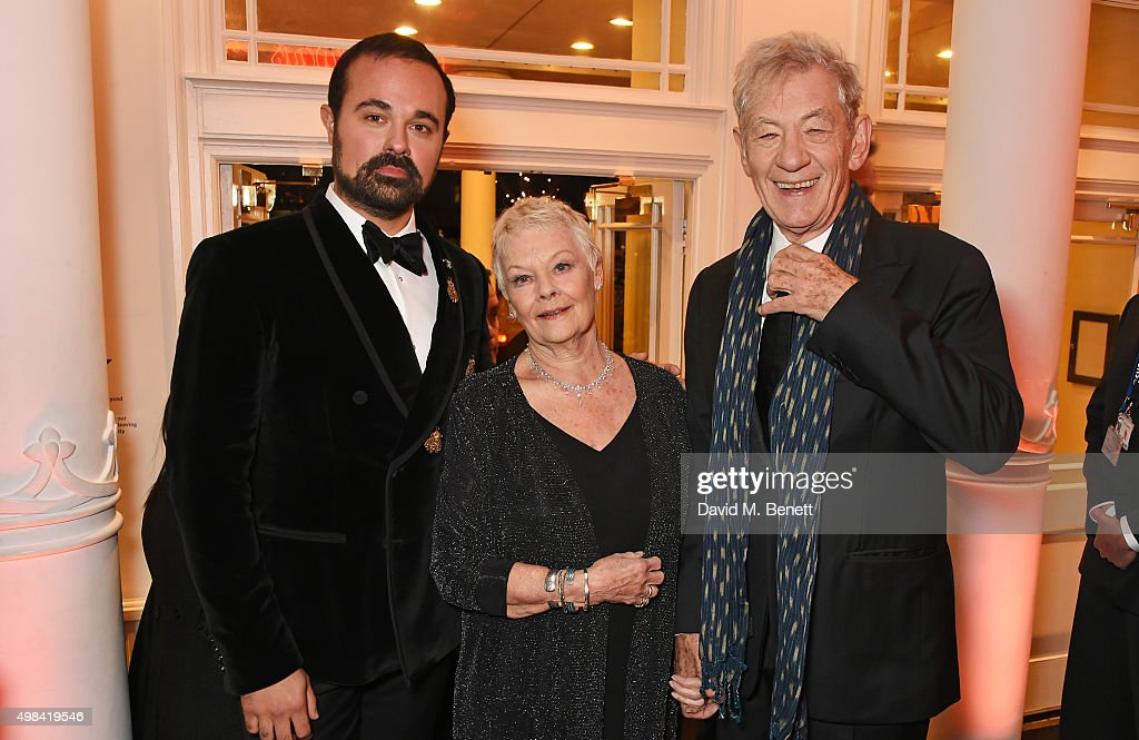 Evgeny Lebedev, Dame Judi Dench and Sir Ian McKellen attend a champagne reception ahead of The London Evening Standard Theatre Awards in partnership with The Ivy at The Old Vic Theatre on November 22, 2015 in London, England.