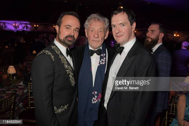Evgeny Lebedev Sir Ian McKellen and Evening Standard Editor George Osborne attend the 65th Evening Standard Theatre Awards in association with...