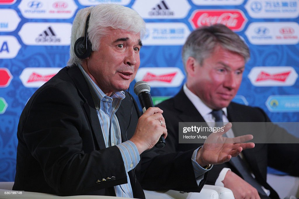 Evgeny Lovchev, Former Russian soccer player speaks during the FIFA Confederations Media Event at CAR on May 11, 2016 in Mexico City, Mexico.