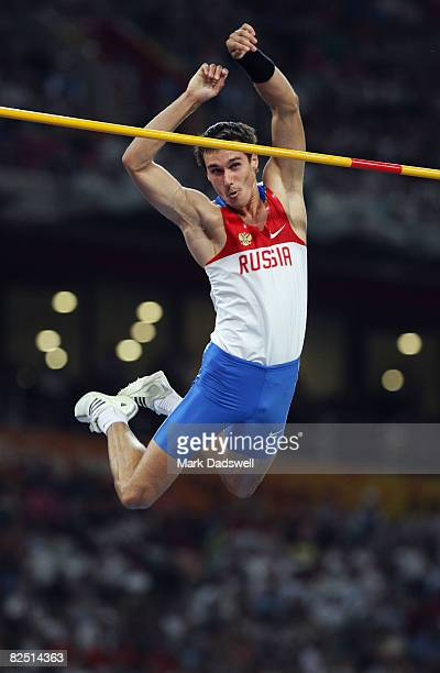 Evgeny Lukyanenko of Russia competes in the Men's Pole Vault Final at the National Stadium on Day 14 of the Beijing 2008 Olympic Games on August 22...