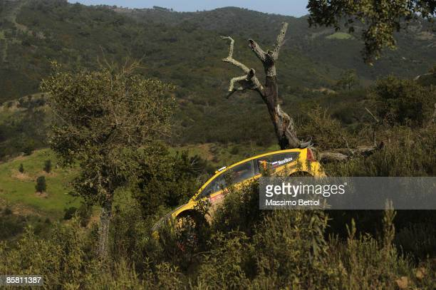 Evgeny Novikov of Russia and Dale Moscatt of Australia after they crashed their Citroen C4 during Leg 3 of the WRC Vodafone Rally Portugal on April 5...