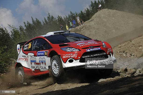Evgeny Novikov of Russia and Denis Giraudet of France compete in their Stobart MSport WRT Ford Fiesta WRC during the Shakedown of the WRC Rally...
