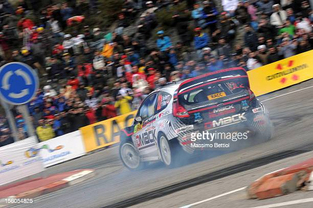 Evgeny Novikov of Russia and Ilka Minor of Austria compete in their Evgeny Novikov Ford Fiesta RS WRC during Day Three of the WRC Spain on November...