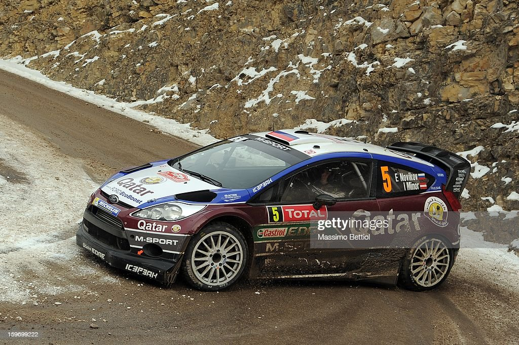 Evgeny Novikov of Russia and Ilka Minor of Austria compete in their Qatar M-Sport WRT Ford Fiesta RS WRC during Day Three of the WRC Monte-Carlo on January 18, 2013 in Montecarlo, Monaco.