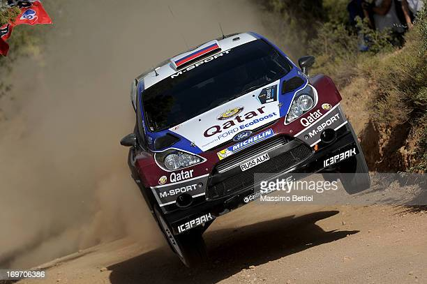 Evgeny Novikov of Russia and Ilka Minor of Austria compete in their Qatar MSport WRT Ford Fiesta RS WRC during the Shakedown of the WRC Greece on May...