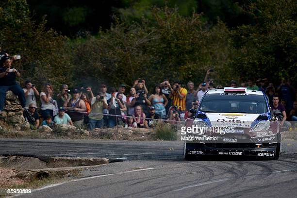 Evgeny Novikov of Russia and Ilka Minor of Austria compete in their Qatar MSport WRT Ford Fiesta RS WRC during Day Two of the WRC Spain on October 26...