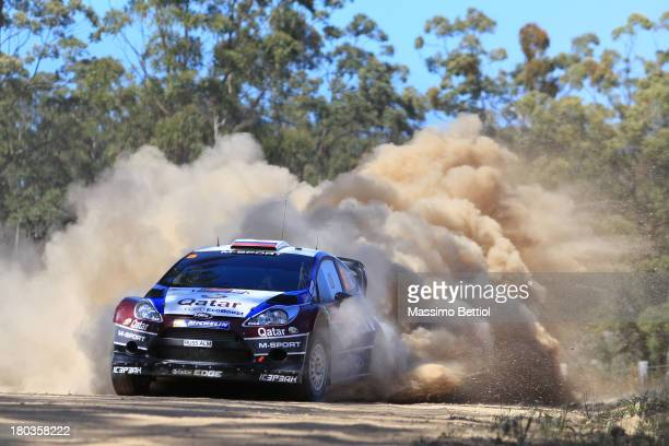 Evgeny Novikov of Russian and Ilka Minor of Austria compete in their Qatar MSport WRT Ford Fiesta RS WRC during the Shakedown of the WRC Australia on...