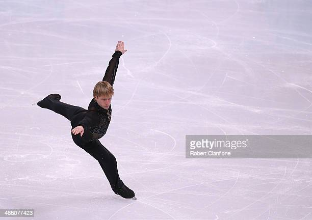 Evgeny Plyushchenko of Russia competes in the Men's Figure Skating Men's Free Skate during day 2 of the Sochi 2014 Winter Olympics at Iceberg Skating...