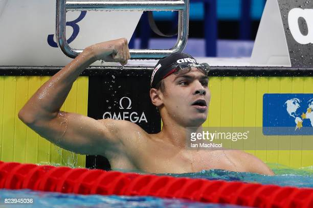 Evgeny Rylov of Russia celebrates after he wins the Men's 200m backstroke during day fiifteen of the FINA World Championships at the Duna Arena on...