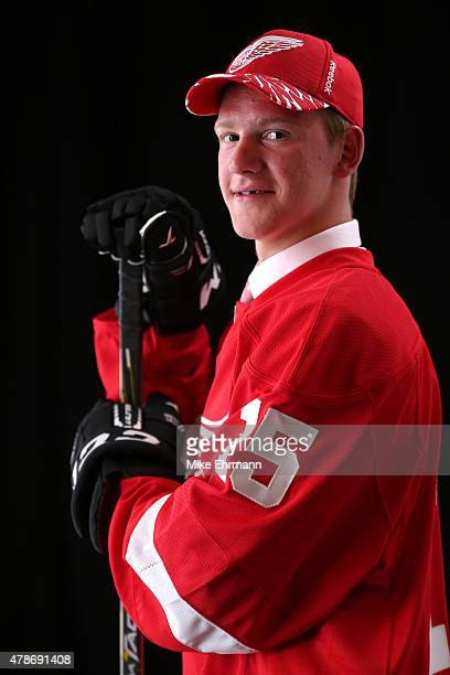 Evgeny Svechnikov poses for a portrait after being selected 19th overall by the Detroit Red Wings during the 2015 NHL Draft at BBT Center on June 26...