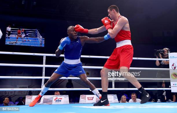 Evgeny Tishchenko of Russia and Erislandy Savon of Cuba fight in the Men's heavy during the final of the AIBA World Boxing Championships Hamburg 2017...