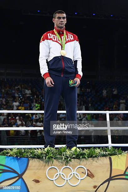 Evgeny Tishchenko of Russia with the gold medal after winning the mens heavyweight 91kg during the Boxing at Riocentro on August 15 2016 in Rio de...