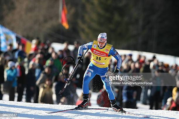 Evgeny Ustyugov of Russia broke his riffle during the men's sprint in the eon Ruhrgas IBU Biathlon World Cup on January 23 2010 in AntholzAnterselva...