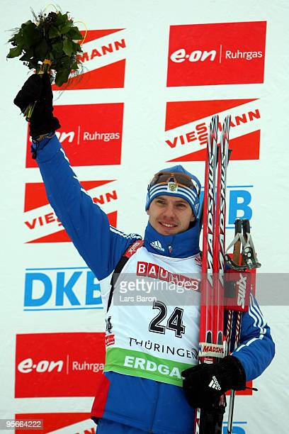 Evgeny Ustyugov of Russia celebrates after winning the Men's 10km Sprint in the eon Ruhrgas IBU Biathlon World Cup on January 9 2010 in Oberhof...