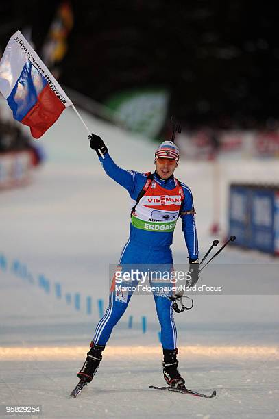 Evgeny Ustyugov of Russia competes during the men's relay in the eon Ruhrgas IBU Biathlon World Cup on January 17 2010 in Ruhpolding Germany