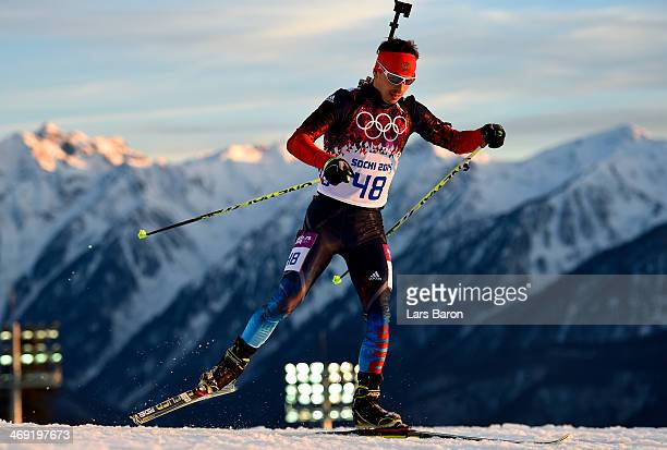 Evgeny Ustyugov of Russia competes in the Men's Individual 20 km during day six of the Sochi 2014 Winter Olympics at Laura Crosscountry Ski Biathlon...