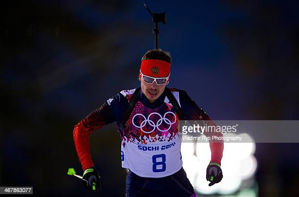 Evgeny Ustyugov of Russia in the Men's 10km Sprint during day one of the Sochi 2014 Winter Olympics at Laura Crosscountry Ski Biathlon Center on...
