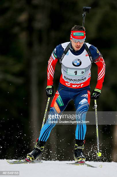 Evgeny Ustyugov of Russia takes 3rd place during the IBU Biathlon World Cup Men's Relay on January 09 2014 in Ruhpolding Germany