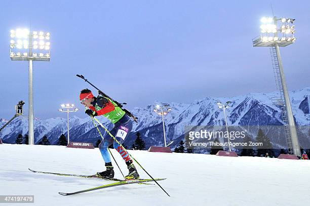 Evgeny Ustyugov of Russia wins gold medal during the Biathlon Men's Relay at the Laura Crosscountry Ski Biathlon Center on February 22 2014 in Sochi...