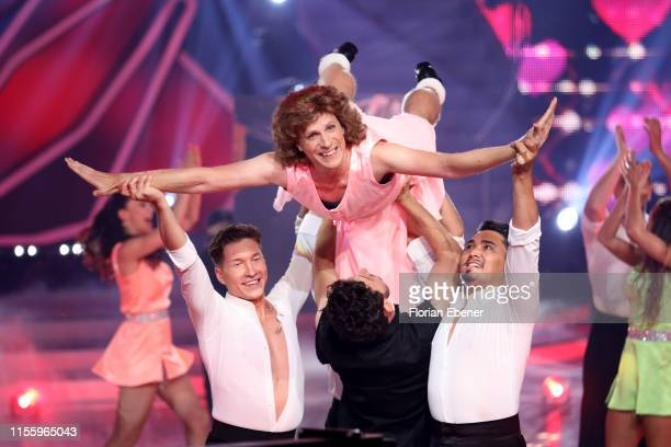 Evgeny Vinokurov Oliver Pocher and Erich Klann perform on stage during the finals of the 12th season of the television competition Let's Dance on...