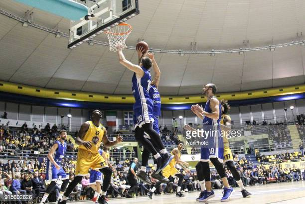 Evgeny Voronov and Drew Gordon in action during the EuroCup basketball match between Fiat Torino Auxilium and Zenit St Petersburg at PalaRuffini on...