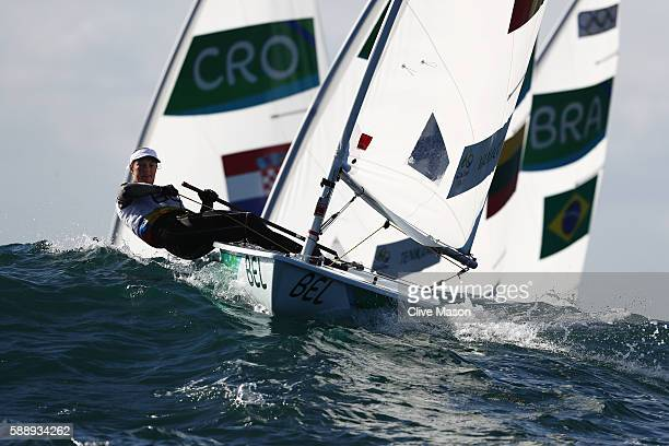 Evi van Acker of Belgium competes in the Women's Laser Radial class on Day 7 of the Rio 2016 Olympic Games at Marina da Gloria on August 12 2016 in...