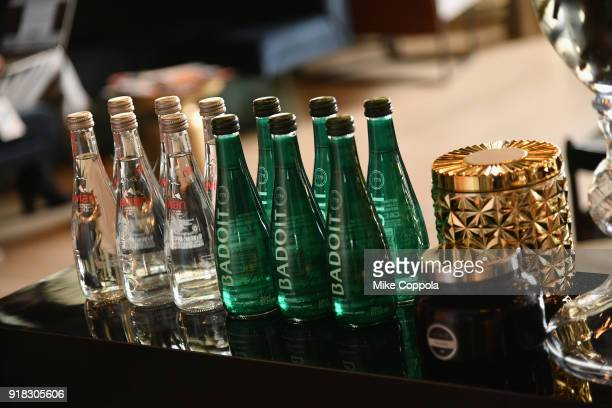 Evian and Badoit water on display the Etihad Airways VIP Lounge at NYFW The Shows at New York Fashion Week The Shows on February 14 2018 in New York...