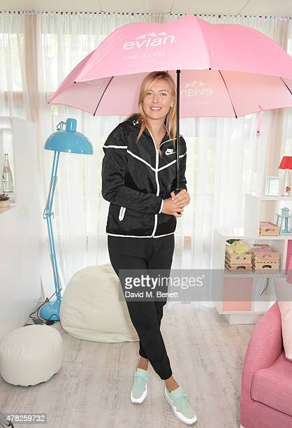 evian launches new reality show #wimblewatch with Maria Sharapova at Wimbledon on June 23 2015 in London England
