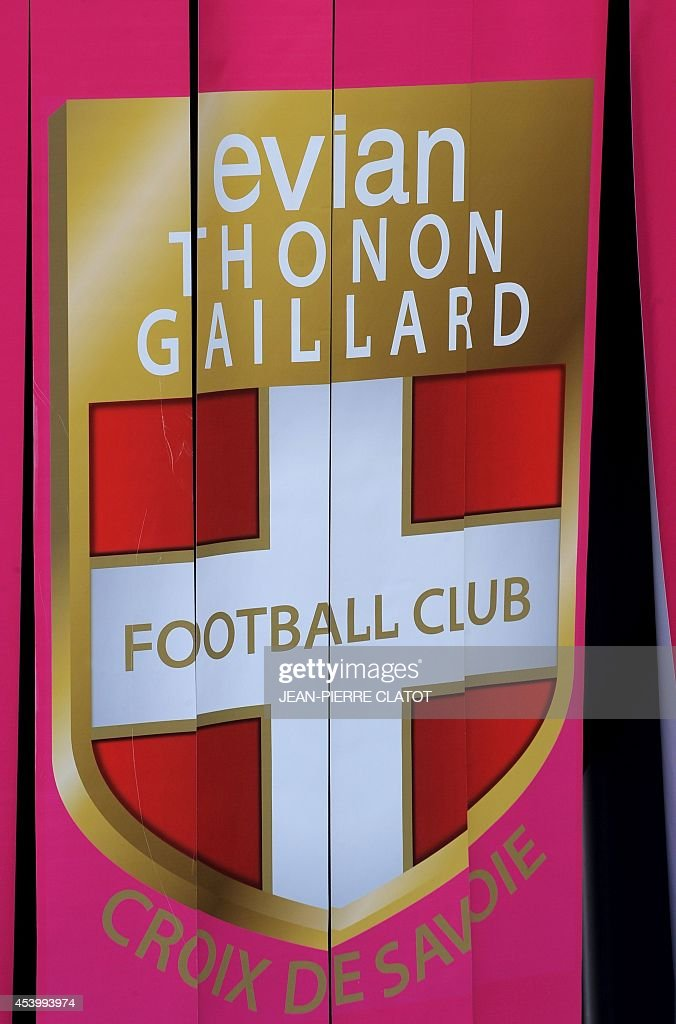 Evian Thonon Gaillard (ETGFC)'s logo is pictured prior to the French L1 football match between Evian Thonon Gaillard (ETGFC) and Paris Saint-Germain (PSG) on August 22, 2014 at the Parc des Sport in Annecy, southeastern France.