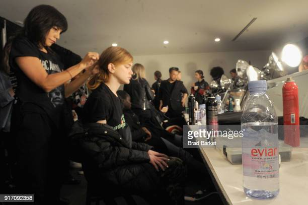 Evian water on display in the backstage hair and makeup stations during IMG NYFW The Shows at Spring Studios on February 11 2018 in New York City