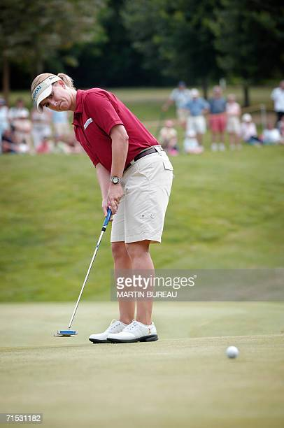 Australian Karrie Webb tees off 28 July 2006 in EvianlesBains central eastern France on the third of the four days of the Golf Evian Masters AFP...