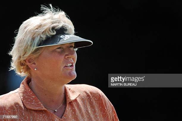 Portrait of British Laura Davies taken 29 July 2006 in EvianlesBains central eastern France on the last of the four days of the Golf Evian Masters...