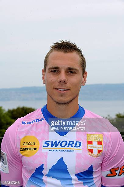EvianThonon Gaillard L1 football club's French forward Kevin Berigaud poses during an official picture on September 18 2012 in Annecy AFP PHOTO /...