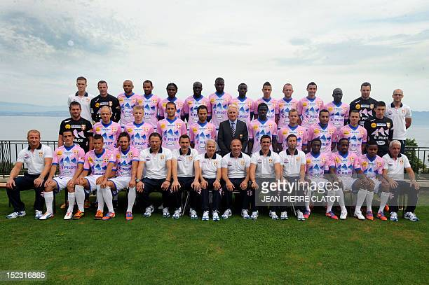 EvianThonon Gaillard 's L1 football players pose for an official picture on September 18 2012 in Annecy Intendant Michael Chassan midfielder...