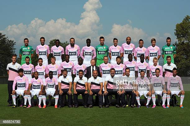 EvianThonon Gaillard 's L1 football players pose for an official picture on September 16 2014 in Publier Evian's Costarician midfielder Yelksin...