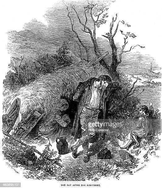 Evicted Irish peasant family, 1848. Irish peasant family unable to pay rent because of failure of potato crop due to blight, finding shelter in a...